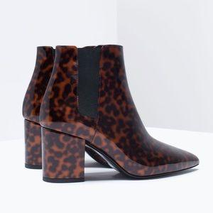 Zara Patent Leopard Heeled Booties